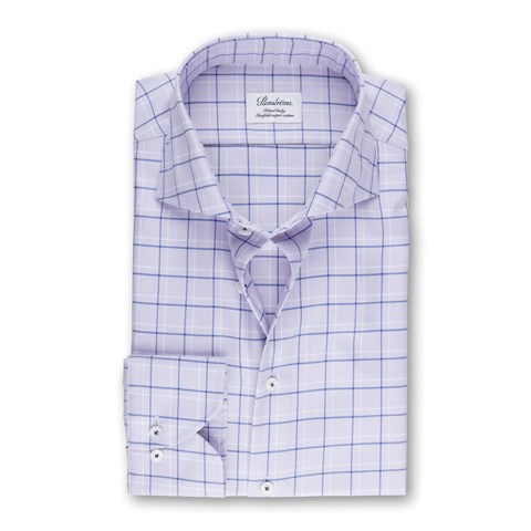 Purple Check Fitted Body Shirt
