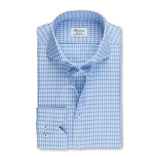 Blue Checked Fitted Body Shirt