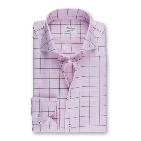 Pink Checked Fitted Body Shirt