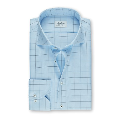 Blue Window Pane Fitted Body Shirt