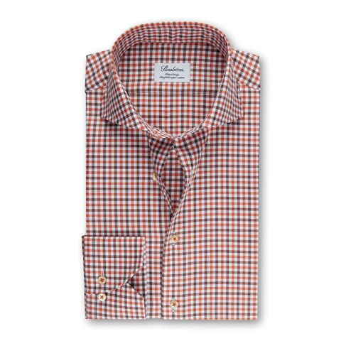 Orange/Brown Checked Fitted Body Shirt
