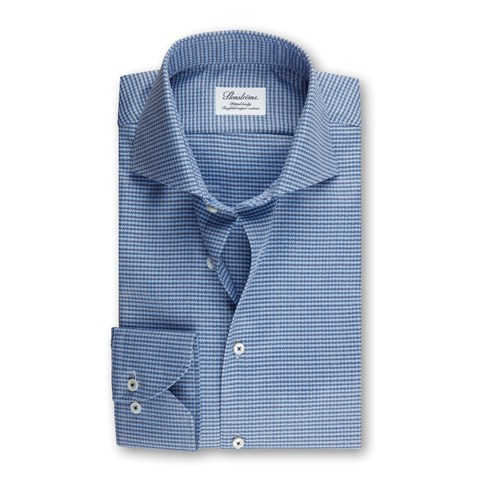 Fitted Body Shirt Micro Patterned Blue
