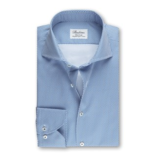 Geometric Patterned Fitted Body Shirt Blue