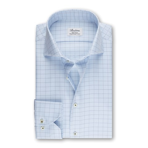 Fitted Body Shirt Checked Light Blue