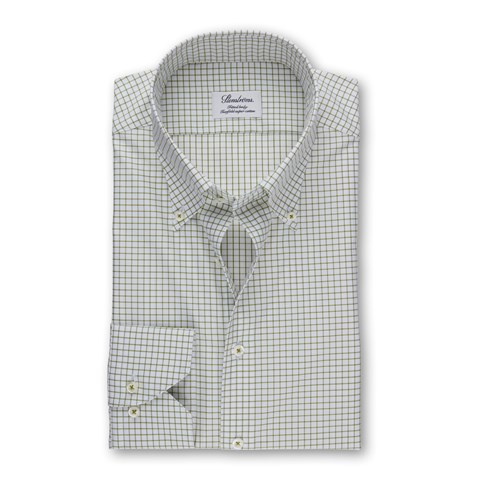 Green Checked Fitted Body Shirt