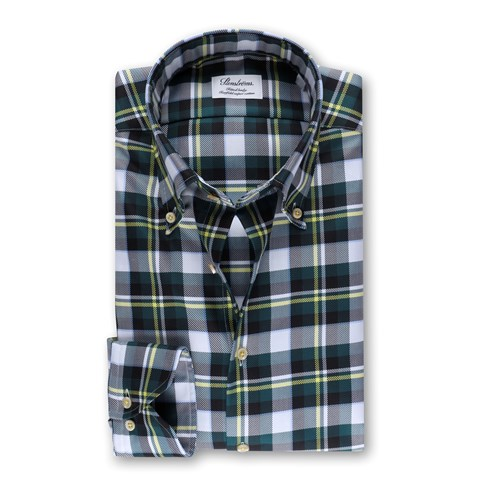 Checked Fitted Body Shirt Green