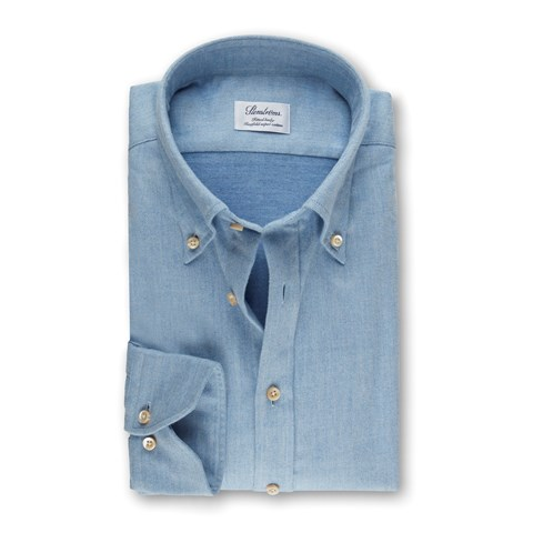 Light Blue Fitted Body Shirt In Luxury Flannel
