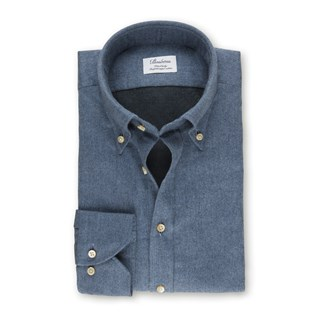 Denim Blue Fitted Body Shirt In Luxury Flannel