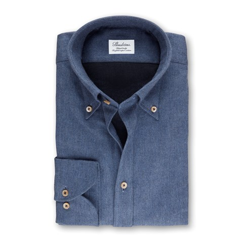 Blue Fitted Body Shirt In Luxury Flannel