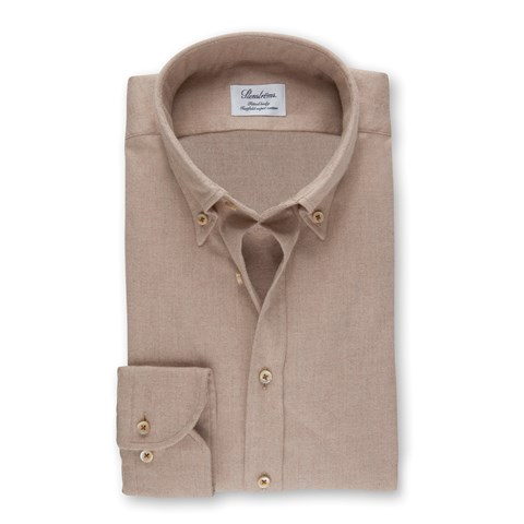 Camel Fitted Body Shirt In Luxury Flannel