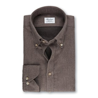 Brown Fitted Body Shirt In Luxury Flannel