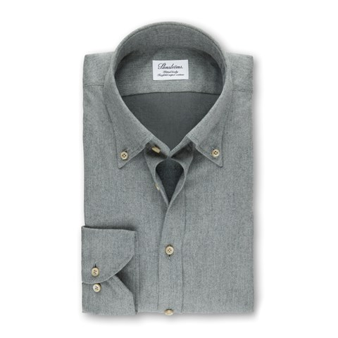 Grey Fitted Body Shirt In Luxury Flannel