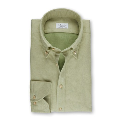 Light Green Flannel Fitted Body Shirt