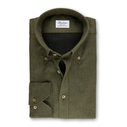 Green Fitted Body Shirt In Luxury Flannel