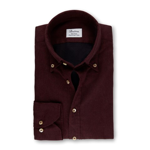 Burgundy Fitted Body Shirt In Luxury Flannel