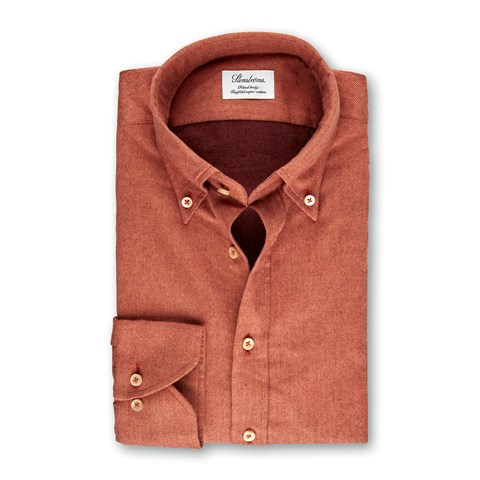 Orange Fitted Body Shirt In Luxury Flannel