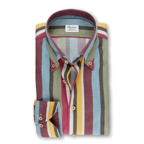 Multicolor Striped Flannel Fitted Body Shirt