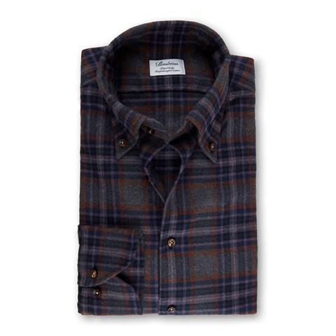 Grey/Purple Check Flannel Fitted Body Shirt