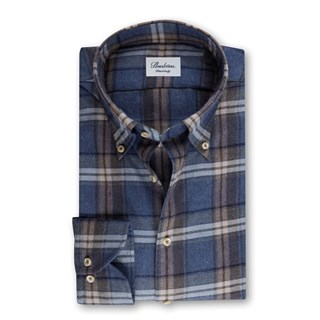 Blue Checked Flannel Fitted Body Shirt