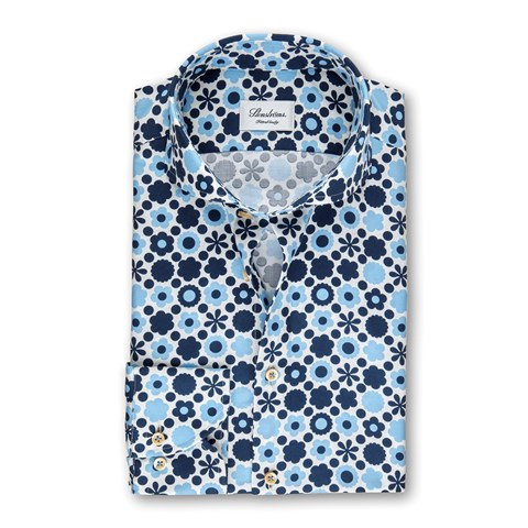Blue Floral Patterned Fitted Body Shirt