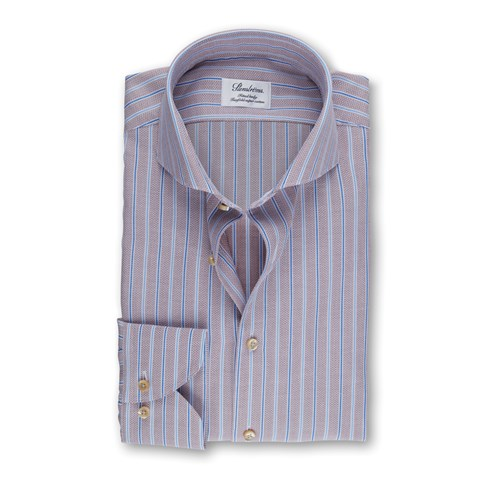 Blue/Brown Striped Fitted Body Shirt
