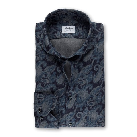 Navy Paisley Patterned Flannel Fitted Body Shirt
