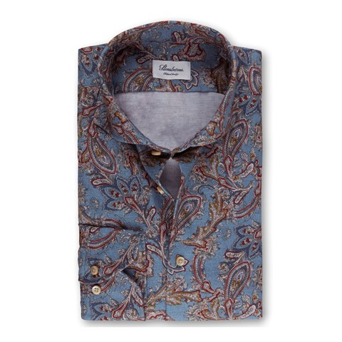 Paisley Flannel Fitted Body Shirt