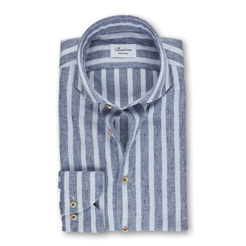 Blue Striped Flannel Fitted Body Shirt