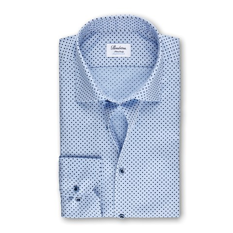 Light Blue Dotted Fitted Body Shirt
