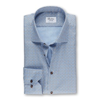 Blue Medallion Patterned Fitted Body Shirt