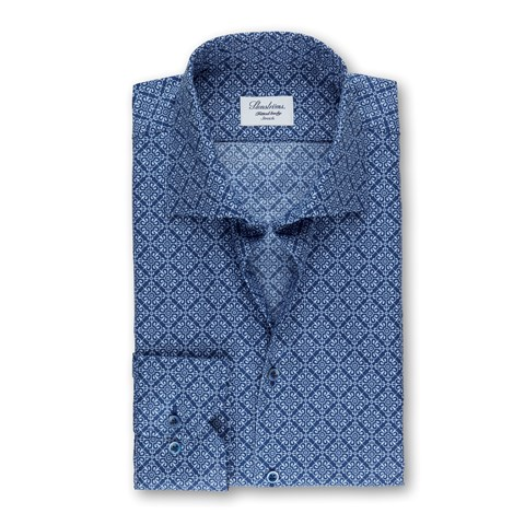 Navy Medallion Patterned Fitted Body Shirt