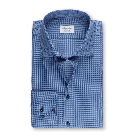 Navy Micro Patterned Fitted Body Shirt