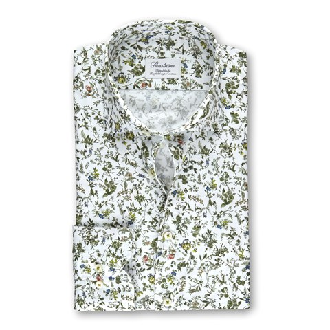 White Floral Fitted Body Shirt