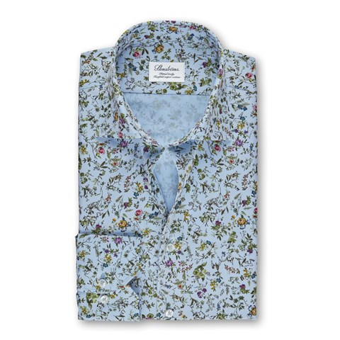 Light Blue Floral Fitted Body Shirt