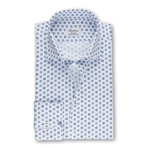 White Floral Dots Fitted Body Shirt