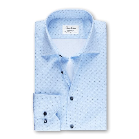 Blue Fitted Body Shirt Micro Pattern