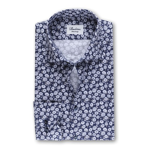 Navy Floral Fitted Body Shirt