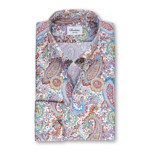 Paisley Patterned Fitted Body Shirt, Extra Long Sleeves