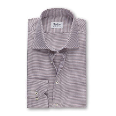 Brown Checked Fitted Body Shirt