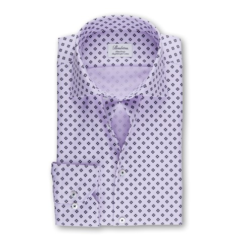Purple Patterned Fitted Body Shirt