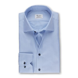 Blue Micro Patterned Fitted Body Shirt