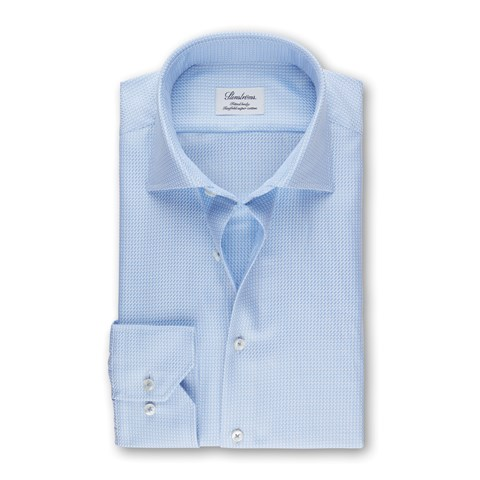Light Blue Micro Patterned Fitted Body Shirt