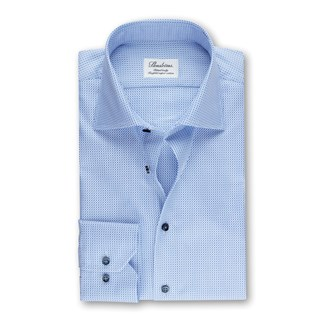 Fitted Body Shirt In Textured Twill, Blue