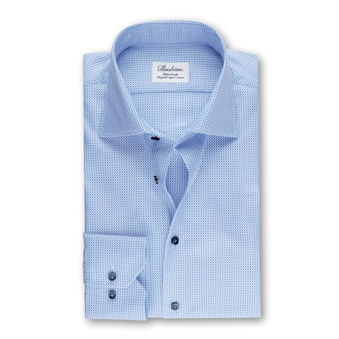 Blue Fitted Body Shirt In Textured Twill