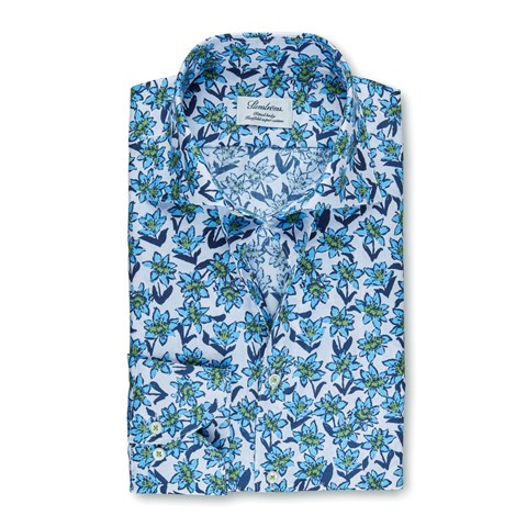Blue Flower Patterned Fitted Body Shirt