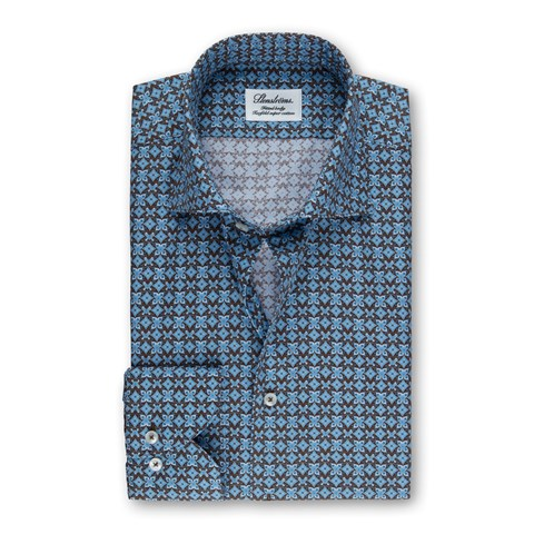 Brown & Blue Patterned Fitted Body Shirt