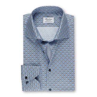 Light Blue Medallion Fitted Body Shirt