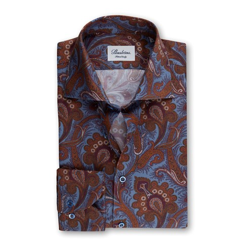 Blue/Brown Paisley Fitted Body Shirt