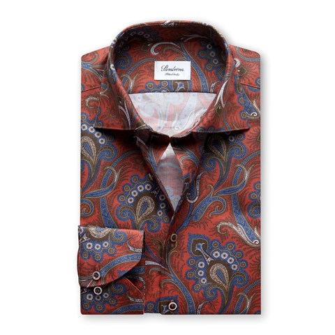 Orange/Blue Paisley Fitted Body Shirt