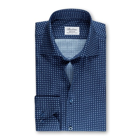 Navy Patterned Fitted Body Shirt
